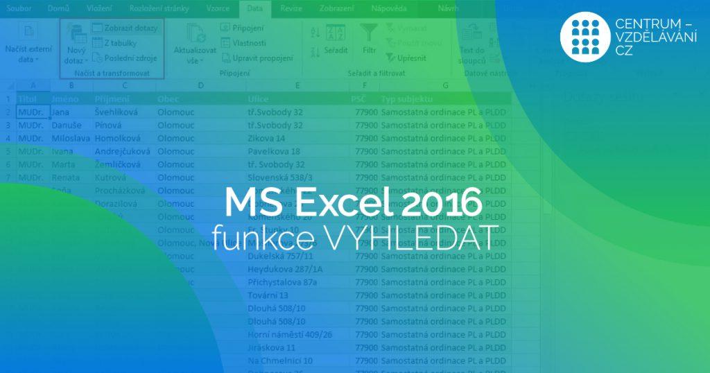 Excel-funkce vyhledat