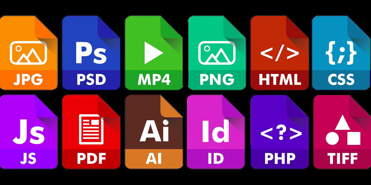 Ikony koncovek a pojmů souvisejících s tvorbou webových stránek